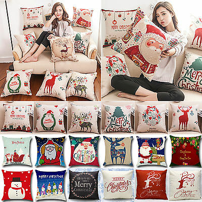 Christmas Pillows Cushions Covers Case Sofa Bed Linens Kids' Gift SANTA Reindeer