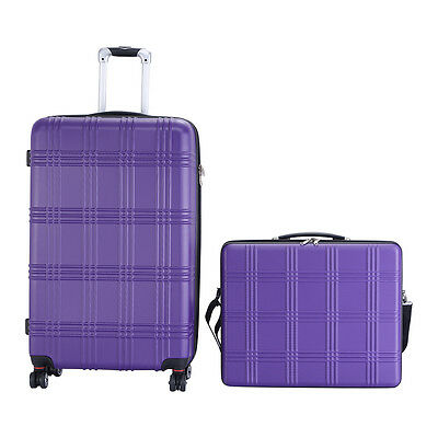 "Set of 2 GLOBALWAY 21""+29"" 2 Pcs Luggage Travel  Bag ABS Trolley Suitcase Purple"