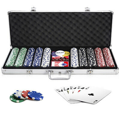 500 Chips Poker Dice Chip Set Texas Hold'em Cards w/ Aluminum Case New