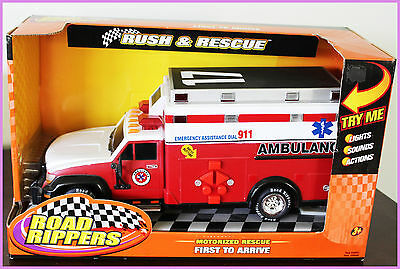 """NEW 12"""" Road Rippers Motorized Rush & Rescue Ambulance,with Sounds and  Lights"""