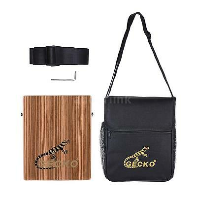 GECKO Traveling Cajon Box Drum Hand Drum Zebra Wood with Strap Carrying Bag A4P2