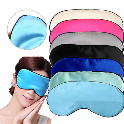 Colorful Sleep Padded Eye Mask Pure Silk Shade Cover Travel Relax Aid Blindfold