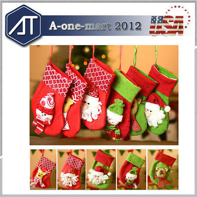 6 Pack Christmas Stockings Hangers, Xmax Gift Socks Bags 3D Pattern Fabric Decor