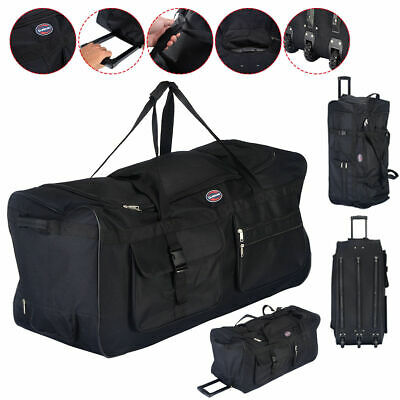 "36"" Rolling Tote Duffle Bag Wheeled Luggage Travel Duffle Suitcase Black New"