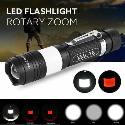 Tactical 10000LM XML T6 LED USB Rechargeable Zoomable Flashlight Torch Lamp New