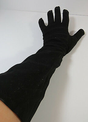 Vintage Women's Black Cotton Dress Gloves, Size 7 1/2 Made in the Philippines