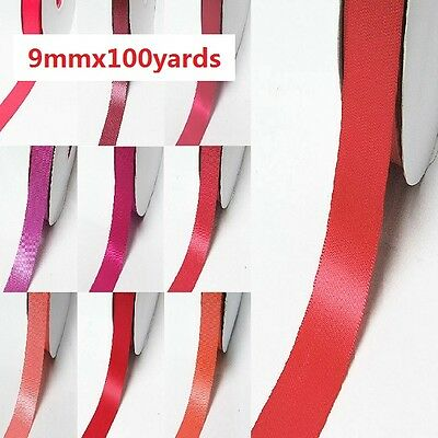 "Wholesale 100 Yards Double Faced Satin Ribbon 3/8"" /9mm.Rose to Red s color"