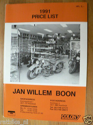 O138 Brochure Book 1991 Pricelist Jan Willem Boon Harley Parts English 68 Pages