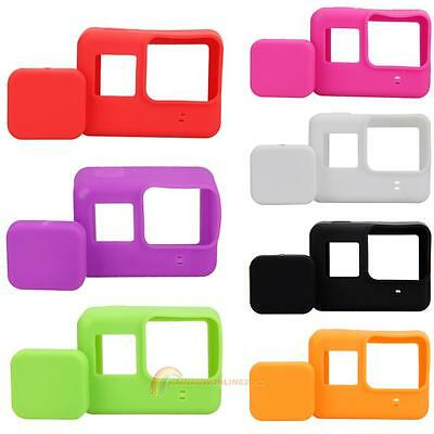 For GoPro Hero 5 Camera Accessories Soft Silicone Case Cover + Lens Cap 7 Colors