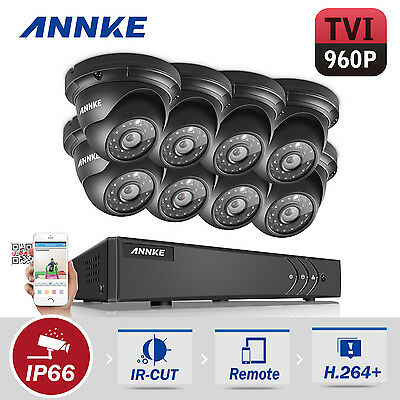 ANNKE 8Channel 4 in 1 DVR 960P 2000TVL Outdoor CCTV Security Dome Camera System