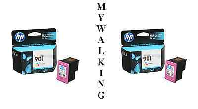 2 X Genuine Hp 901 Colour Ink Cartridges 2 Year Guarantee Fast 1St Class Postage