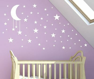 P LARGE 30cm Moon + 50 Stars Wall Stickers Nursery Baby Any Colour Sticker Star
