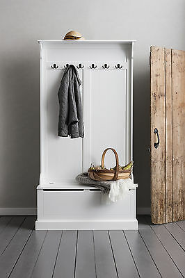 White Hallway Bench and Coat Hook Shoe Storage Wooden Cabinet Home Furniture UK