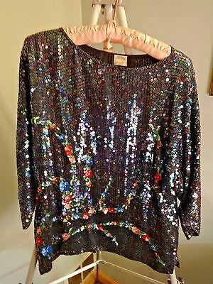 Vintage Clothing Women's Sequin Iridescent Multi Colored Silk Top Shirt Blouse