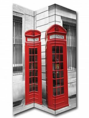 Red Telephone Box Phone Booth Canvas Privacy Screen Folding 3 Panel Room Divider