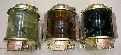 Vintage Marine Brass Ship Electric Lights Set Of 3 Pieces Made In Germany