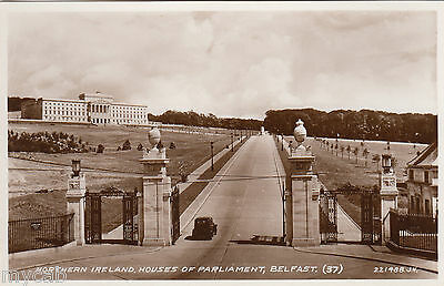 Postcard Belfast Northern Ireland view of the Houses of Parliament RP