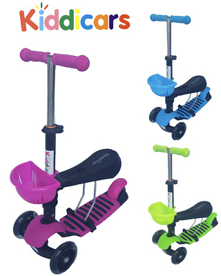Kids 3 in1 LED wheel scooter ride on scooter lean to steer 3 wheel in 3 colours