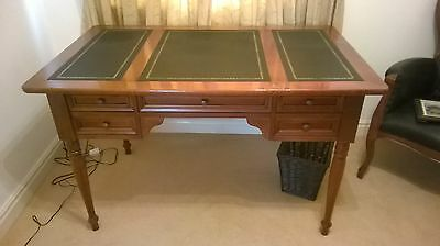 Writing Desk Polished Solid Cherry With Black Inlaid Leather  3 Sectional Top