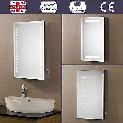 Illuminated Led Bathroom Mirror Cabinet Ip44 Demister Sensor Shaving Socket