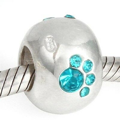 Paw Print Cat Dog Charm Bead 925 Sterling Silver