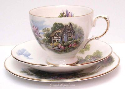 Royal Vale cup saucer and side plate trio bone china England