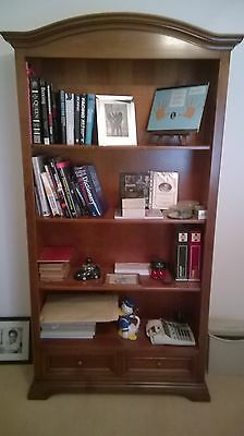 Large Bookcase / Bookshelf In Solid Cherry 2 Drawer Display Cabinet Unit