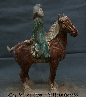 """14"""" Antique China Tang San Cai Pottery Dynasty Beautiful Woman Ride Horse Statue"""