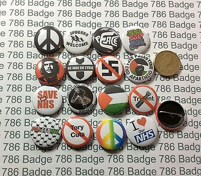 16 Badge Left Wing Political Peace NHS 1 inch /25mm Badges Free p+p