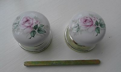 Pair Of Vintage Reclaimed Ceramic  Door Knobs,  Back Plate  And Spindle