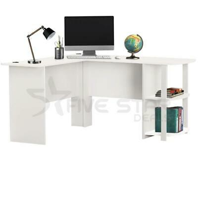 Livivo L-Shape White Office Computer Desk With Book Shelves Wooden Corner Table