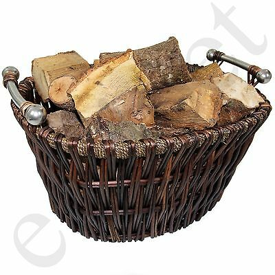 Large Wicker Log Basket Storage Carrying Firewood Fireplace Toy Store Hamper