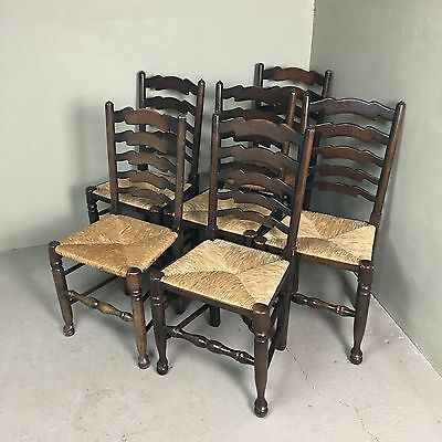 ANTIQUE REFECTORY OAK LADDER BACK FARMHOUSE CHAIRS WITH RUSH SEATS 6 19th CENTUR