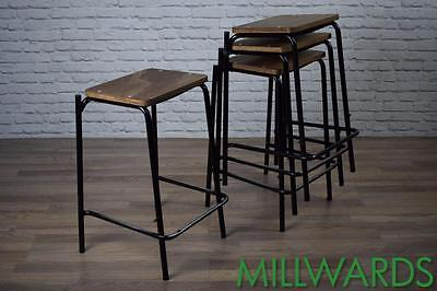 Vintage Industrial School Lab Stackable Cafe Bar Stools 30 AVAILABLE (inc VAT)