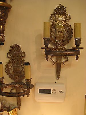 Extra Ordinary Pair Of 2 Lights Yellow Bronze Sconces