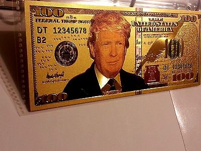 Donald Trump .999 24k Gold USA $100 Dollar Bill