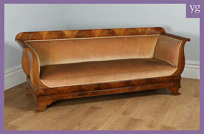 Antique German Biedermeier Flame Mahogany Couch Sofa Canape Settee (c.1840)