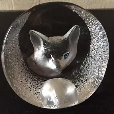 Vintage Mats Jonasson Fox Paperweight Sweden Signed