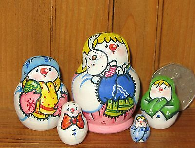 Russian tiny nesting doll 5 MINI SNOWMAN GIRL Bunny Christmas Babushka LATISHEVA
