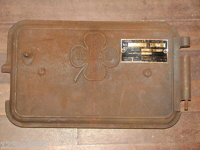 Vintage Antique CAST IRON IDEAL Boiler Door w/ ID Plate & Back Plate STEAM PUNK