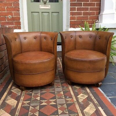 Pair of Vintage Leather French Club Chairs