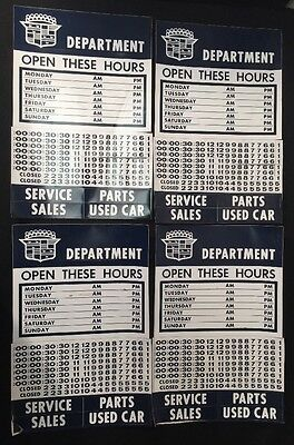 4 Vtg 60s 70s CADILLAC Department Sticker Door SIGN Chevy Gas Oil Lot Open Hours