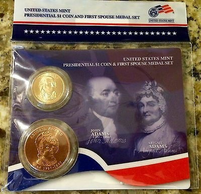 2007 JOHN & ABIGAIL ADAMS FIRST SPOUSE MEDAL & PRESIDENTIAL $1 Set US MINT