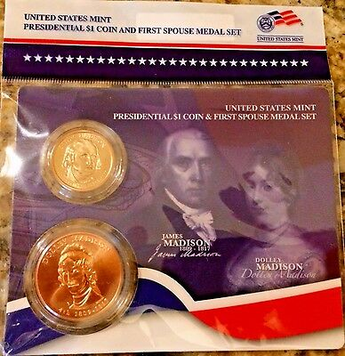 2007 JAMES + DOLLEY MADISON FIRST SPOUSE MEDAL & PRESIDENTIAL $1 Set US MINT