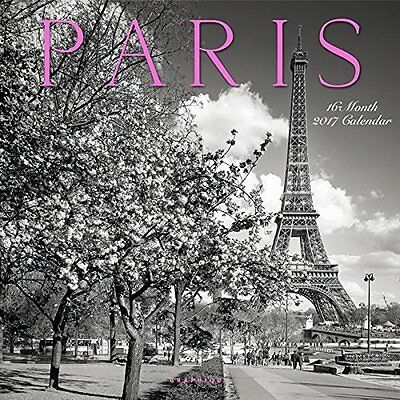 "2017 Paris 12 x 12"" Wall Calendar Travel France Black & White Photography"