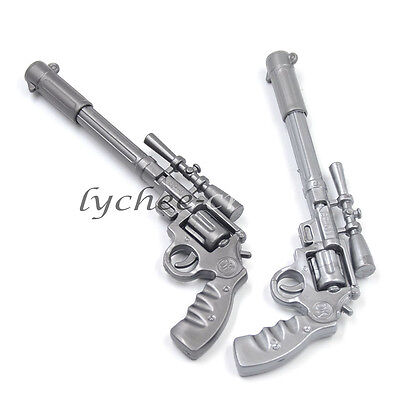 2 Pcs Silver Gun Pistol Shaped Ballpoint Pen Collectors Novelty Kids Boys Gift