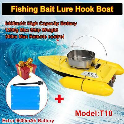 T10 RC Lure Fishing Bait Boat with Remote Control+Extra 9600mAh Battery Yellow