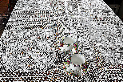"""Room Vintage Crochet Holiday Knitted Tablemat Runner 60""""x60"""" White Tablecloth"""