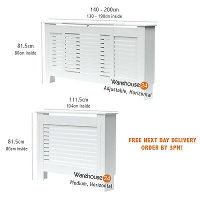 New Radiator Cover Cabinet MDF WHITE Painted Medium,Adjustable Horizontal Grill