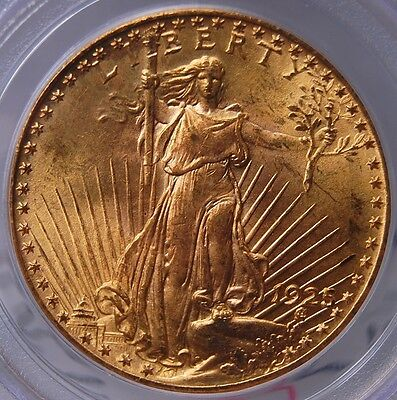 1925 Saint Gaudens $20 Gold Double Eagle Pcgs Ms 63 Old Green Holder Nice Color